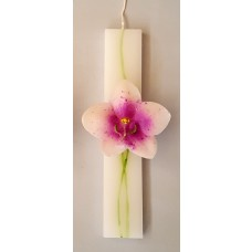 Easter Church Candle with Wax Orchid